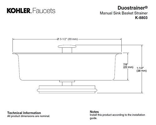 KOHLER K-8803-CP Duostrainer Basket Strainer, Polished Chrome by Kohler (Image #3)
