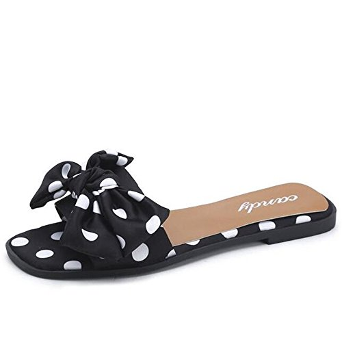 Woman 39 Zapatillas Planas Flip Spot Ladies Sandalias Bow Mujer Summer Leisure Flops Xsj Shoes De Black awFqI1Z