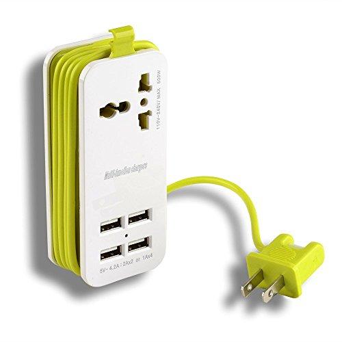AGPtek Tomacorriente Portable para Viajes (2.1AMP + 1AMP 21W) y 1.5M / 5 ft Tomas de corriente con Enchufe Universal Entrada...