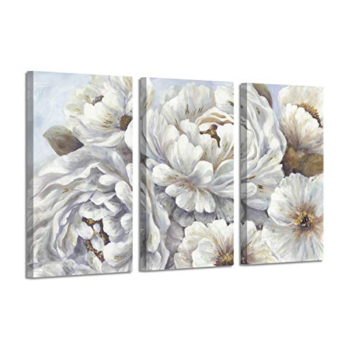 Abstract Peony Flowers Wall Picture: White Blossom Floral Artwork Canvas Wall Art for Living Room Bedrooms ()