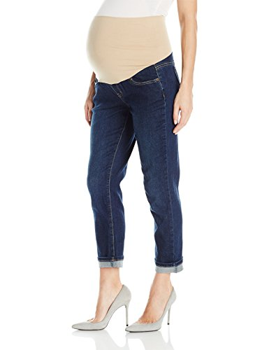 Three Seasons Maternity Women's Cuffed Denim Ankle, Dark Wash, M
