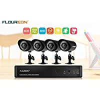 FLOUREON 8 CH House Camera System DVR 1080N AHD + 4 Outdoor/ Indoor Bullet Home Security Cameras 1500TVL 720P 1.0MP AHD Resolution Night Version for House/ Apartment/Office