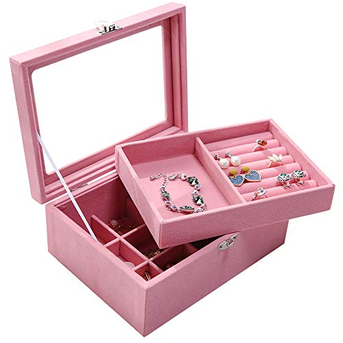 Wuligirl Jewelry Box Organizer with 2 Drawers Velvet Glass Jewelry Tray Display Holder Storage Case Earrings Rings Necklace Bracele(2 Layer Pink) ()