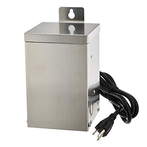 MarLG 75-Watt Low Voltage Multi-Tap (12V/15V) Stainless Steel Landscape Lighting Transformer with Mechanical Rotary Timer, ETL-Listed, 3288-12V by MarsLG