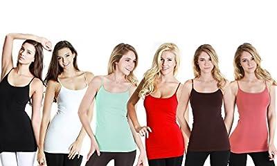 Camisoles with Adjustable Straps Premium 100% Cotton 6-pack