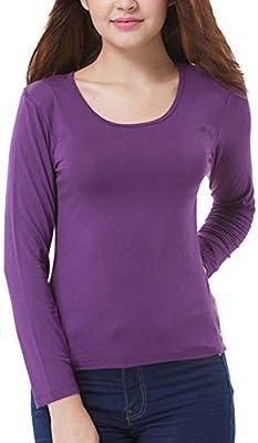 Camiseta Interior Térmica Elástico Ligera De Manga Larga para Mujer Púrpura M: Amazon.es: Deportes y aire libre