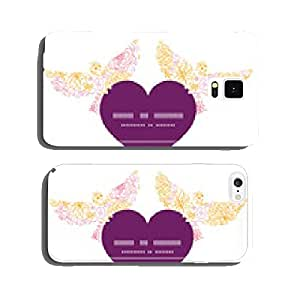 Vector flowers outlined birds holding heart silhouette frame cell phone cover case iPhone6 Plus