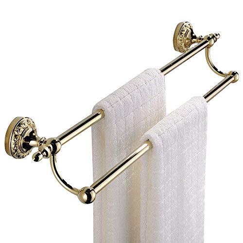 (Leyden Wall Mount Bathroom TI-PVD Gold Finish Brass Material Double Towel Bars Racks)
