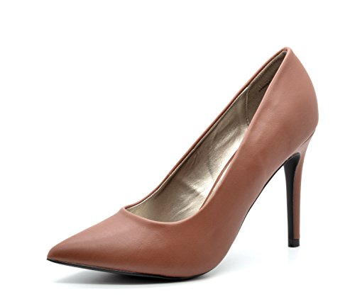 DREAM PAIRS CHRISTIAN Women's Classic Fashion Pointed Toe High Heel Dress Pumps New Tan Size 9 (Tan Pump Women)