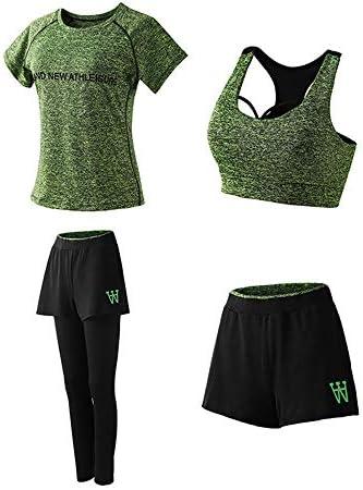 レディースジャージ上下セット レディース4ピース衣装スポーツクロップトップロングパンツトラックスーツ (Color : Green, Size : M)