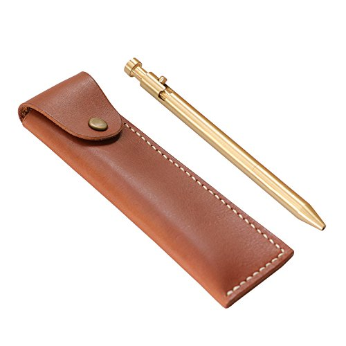 (Brass Pen,Solid Brass,Handmade With Case Made of Brown Handmade Real Genuine Leather,Cristmas Gift)