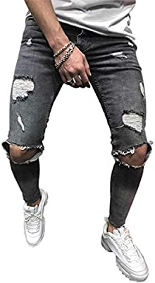 QZH.DUAO Mens Ripped Jeans with Zipper