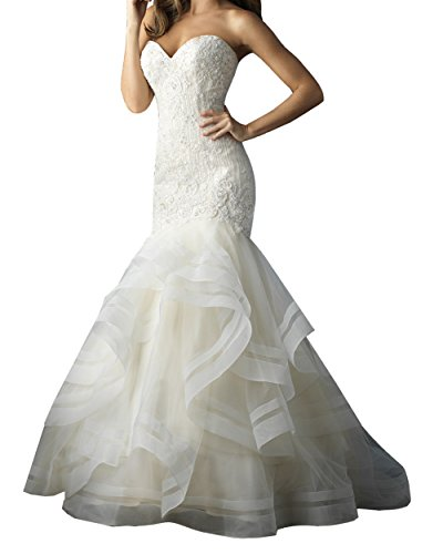 OLadydress Women's Lace Crystal Applique Mermaid Tulle Bridal Wedding Maxi Gown White US12