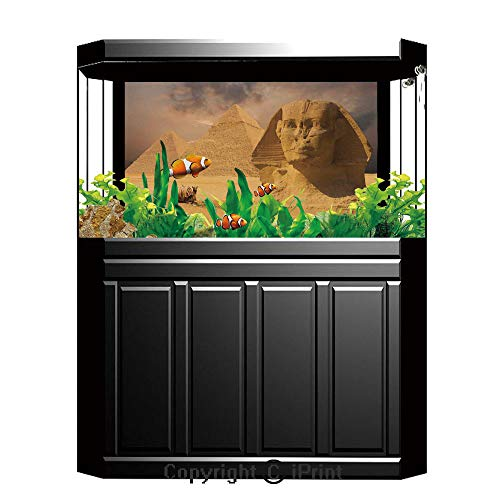 Terrarium Fish Tank Background,Egyptian Decor,The Great Sphinx Face with Other Pyramids in Egypt Old Historical Monument,Cream,Photography Backdrop for Pictures Party Decoration,W48.03