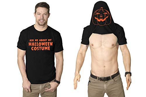 Ask Me About My Halloween Costume T Shirt Creepy Flip Up Tee Pumpkin Shirt (Black) S ()