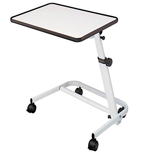Mesa auxiliar de cama plegable, reclinable y con ruedas y freno color bl