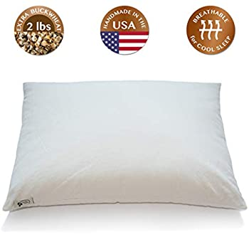 """Image of ComfyComfy Premium Buckwheat Pillow, Standard Size (20"""" x 26""""), Comes with Extra 2 lb of USA Grown Buckwheat Hulls to Customize for Comfort, Made from Durable Organic Cotton Twill Home and Kitchen"""