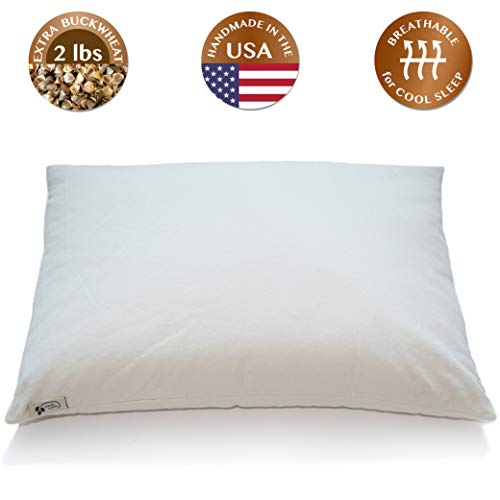 ComfyComfy Premium Buckwheat Pillow, Standard Size (20' x 26'), Comes with Extra 2 lb of USA Grown...