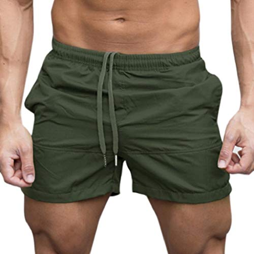 terbklf Men Gym Casual Sports Jogging Elasticated Waist Shorts Pants Trousers Men's Quick Dry Drawstring Walk Shorts Army Green