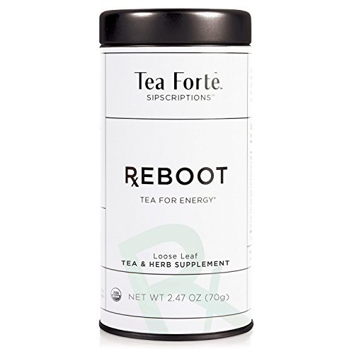 - Tea Forté SIPSCRIPTIONS REBOOT Organic Tea for Energy with Yerba Mate and Ginseng, Loose Leaf White Tea, 2.47 Oz Tea Tin