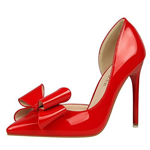 Ballet Tirare AllhqFashion Tacco Flats Donna Punta Alto A Luccichio Scarpe Rosso 0x8w6q10