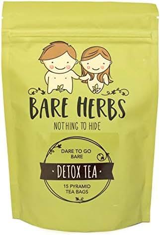 Bare Herbs Detox Tea, Herbal Cleanse – Green Tea, Oolong, Dandelion, Ginger, Goji Berries, Jasmine, Lemongrass, Mate, Garcinia cambogia, Lotus (15 Pyramid Tea Bags)