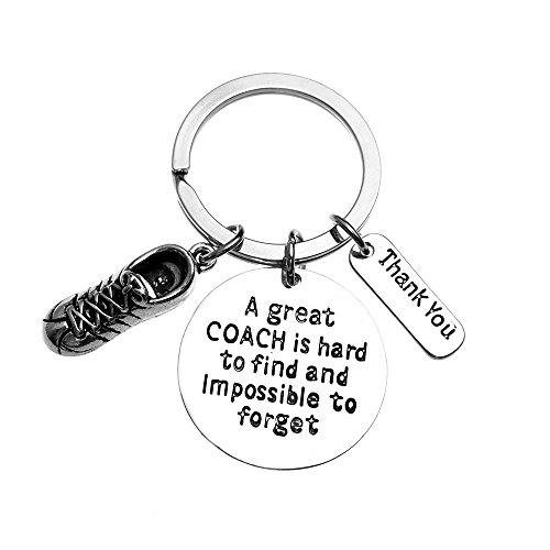 (Infinity Collection Track Coach Keychain, Running Coach Gifts, Great Coach is Hard to Find Coach Keychain)