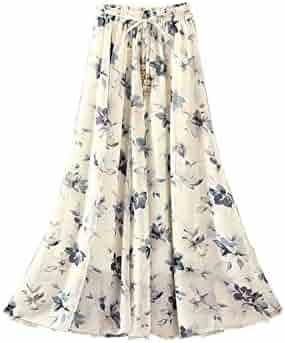 31f3d89b8f1a Kaxuyiiy Women's Boho Flower Print 2 Layer Beach Party Maxi Long Pleated  Skirt