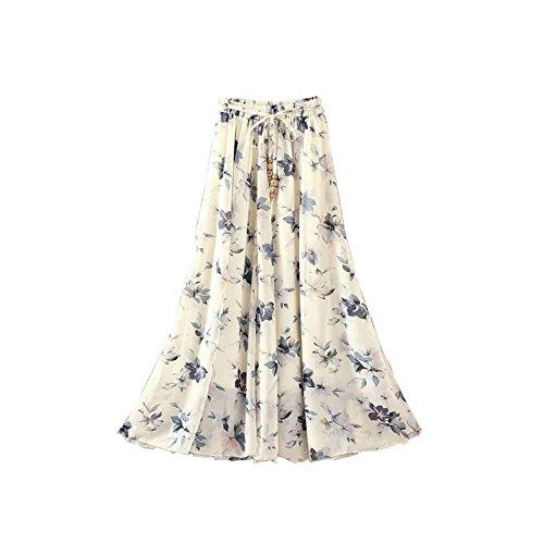 Kaxuyiiy Women's Boho Flower Print 2 Layer Beach Party Maxi Long Pleated Skirt (Blue Tiny ()