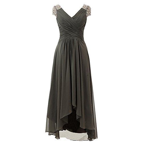 Kivary Chiffon V Neck Beaded High Low Prom Evening Formal Party Dresses Dark Gray US 16
