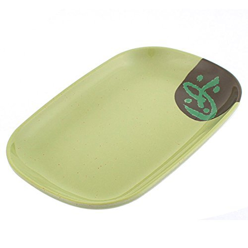 DealMux Rectangle Shaped Dinner Vermicelli Food Fruit Plate Dish Olive Green (Olive Dinner Plate Green)