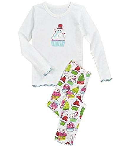 Sara's Prints Girls' Big Sweet Ruffle Edged Snug Fit Pajama Set, Christmas Cupcakes, 8