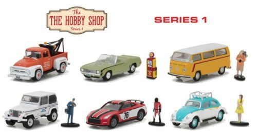 New 1:64 Greenlight Hobby Shop Series Collection - THE HOBBY SHOP - SERIES 1 ASSORTMENT Diecast Model Car By Greenlight Set of 6 Cars