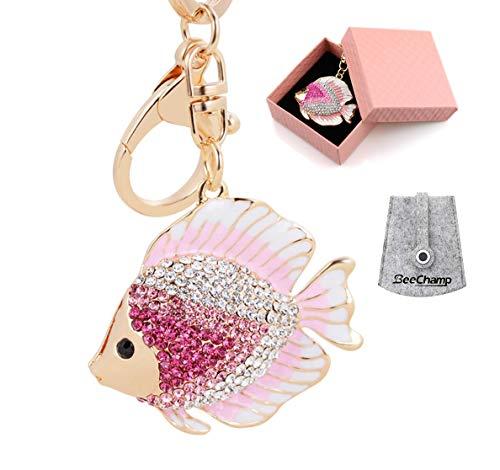 BeeChamp Crystal Rhinestone Fish Keychain Pretty Cute Marine Animal Goldfish Keyring Women Bag Hanging Pendant Charm (Pink) -