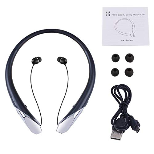 Joyphy Bluetooth Retractable Headphones, Wireless Neckband Headset Noise Cancelling Stereo Earbuds Sports Earphones with Mic for iPhone Android (Black) by Joyphy (Image #5)