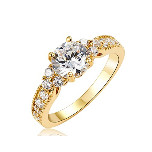 (JewelStory 18k Gold Plated 2CT AAA CZ Diamond Wedding Ring Set for Man and Women Size 6)