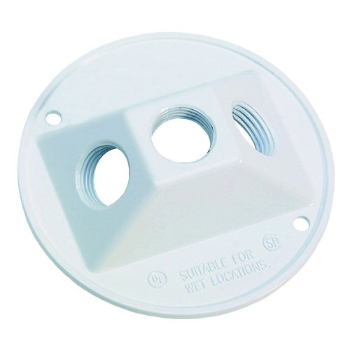 Sigma Electric 14383WH 1/2-Inch 3 Hole Round Lamp holder Cover, (Cluster Box)