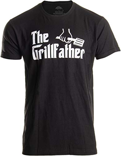 The Grillfather | Funny Dad Grandpa Grilling BBQ Meat Humor T-Shirt Joke for Men - (Adult,M) Black