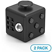 Maxboost Fidget Cube 6 Sides Stress Releaser Ball [2-Pack, Black] Anti-anxiety Depression Dice Prime Focus Toy for Children, Students, Adults [5-clicker Edition] Great for Work, Class, Home