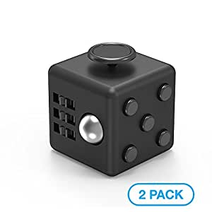 Maxboost Fidget Cube 6 Sides Stress Releaser Ball [2-Pack, Black] Anti-anxiety Depression Figit Dice Prime Focus Toy for Children, Students, Adults [5-clicker Edition] Great for Work, Class, Home