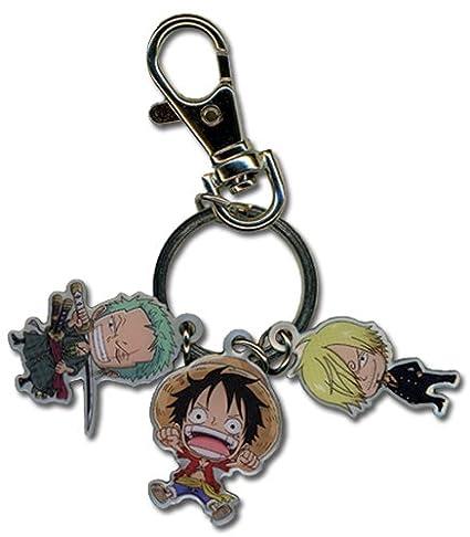 One Piece Luffy, Sanji y Zoro, llavero de metal: Amazon.es ...