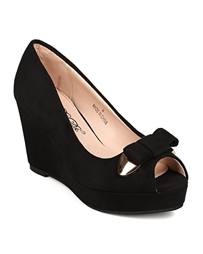 Bow Peep Toe Wedge (DbDk FD35 Women Faux Suede Peep Toe Bow Tie Platform Wedge Heel - Black (Size: 8.0))