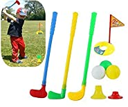 XZW-US Puzzle Golf Toys: 3 Golf Clubs, 3 Golf Balls, 1 Practice Hole with Flags, 1 high Ball Base, 1 Low Ball Base, Allowing 3 Children to Play at The Same time.