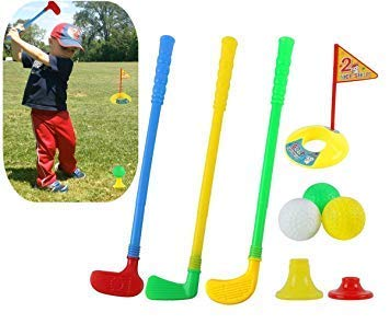 XZW-US Puzzle Golf Toys: 3 Golf Clubs, 3 Golf Balls, 1 Practice Hole with Flags, 1 high Ball Base, 1 Low Ball Base, Allowing 3 Children to Play at The Same time. by XZW-US
