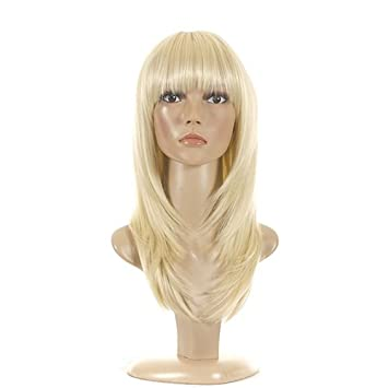 Amazon.com : Blonde Mid Length Feather Cut Wig   70s Inspired Hair ...