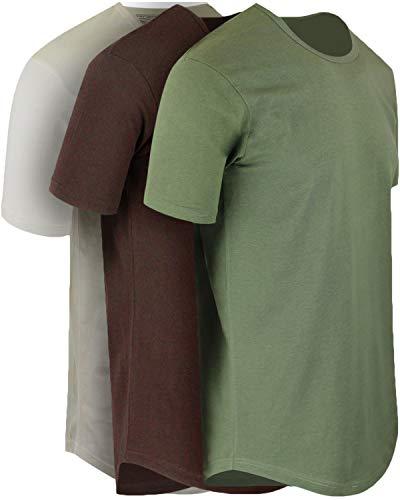 ShirtBANC Mens Hipster Hip Hop Long Drop Tail T Shirts (Cacao Shell | Military Green | Vintage White, 2XL)
