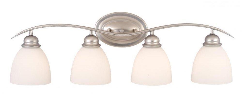 Vaxcel USA ALVLD004BN Avalon 4 Light Bathroom Vanity Lighting Fixture in Nickel, Glass