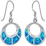 Synthetic Blue Opal & 925 Sterling Silver Earrings