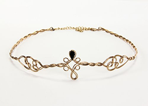 Elope Circlet Crown Headpiece in Gold with Black Jewels -