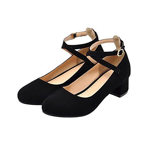 Amoonyfashion Donna Fibbia Tacco Basso Smerigliato Scarpe Tacco-scarpe Nere
